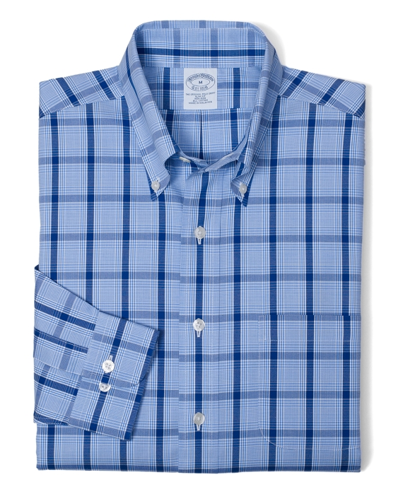 Non-Iron Slim Fit Tonal Glen Plaid Sport Shirt Blue