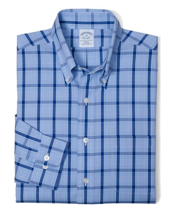 Non-Iron Slim Fit Tonal Glen Plaid Sport Shirt Blue