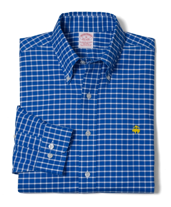 Non-Iron Regular Fit BrooksCool® Ground Check Sport Shirt Blue