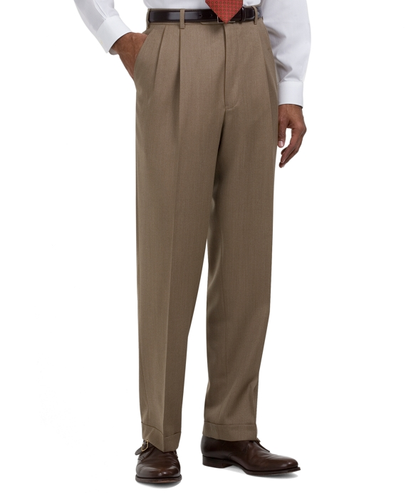 Madison Fit Pleat-Front Covert Twill Trousers Tan