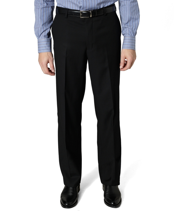 Madison Fit Plain-Front Covert Twill Trousers Black