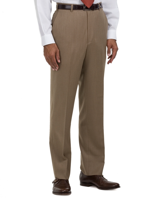 Madison Fit Plain-Front Covert Twill Trousers Tan