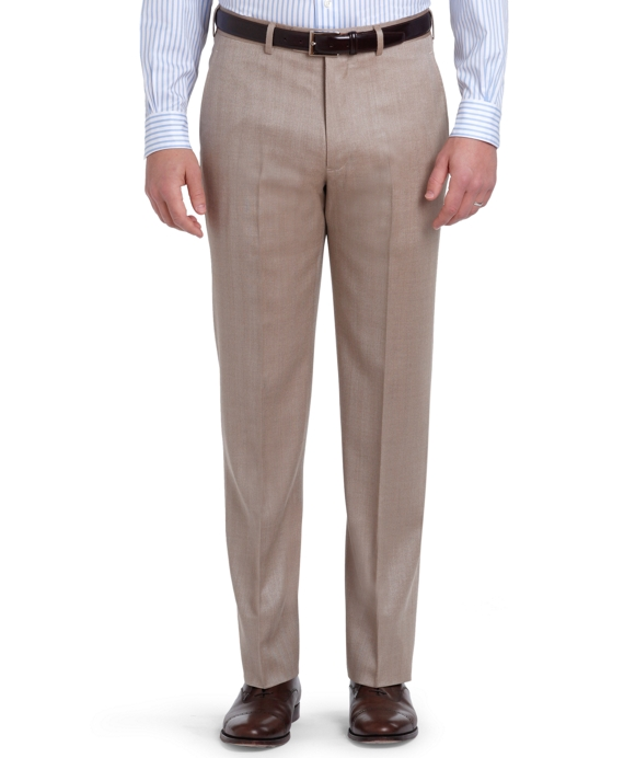 Silk and Wool Plain-Front Herringbone Trousers Brown