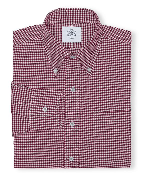 Black Fleece Gingham Button-Down Shirt Red