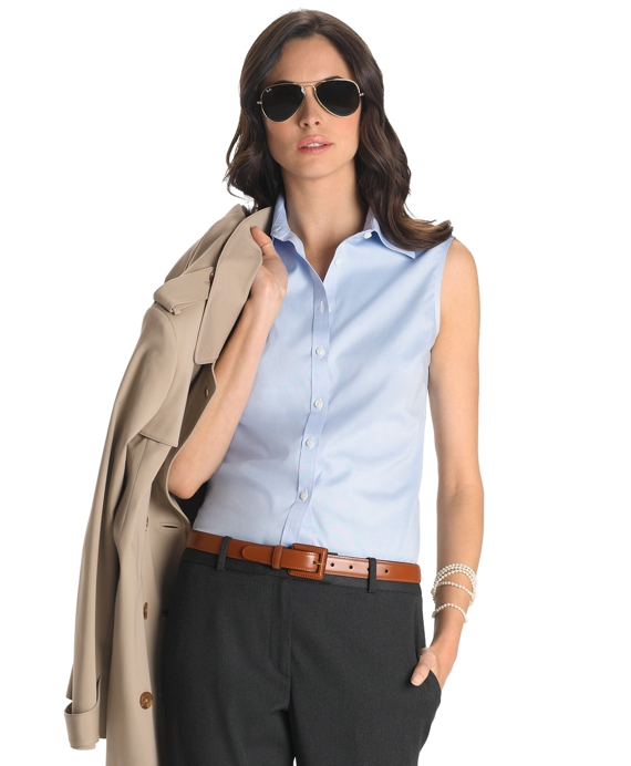 Petite Non-Iron Tailored Fit Sleeveless Dress Shirt Blue