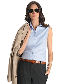 Petite Non-Iron Tailored Fit Sleeveless Dress Shirt