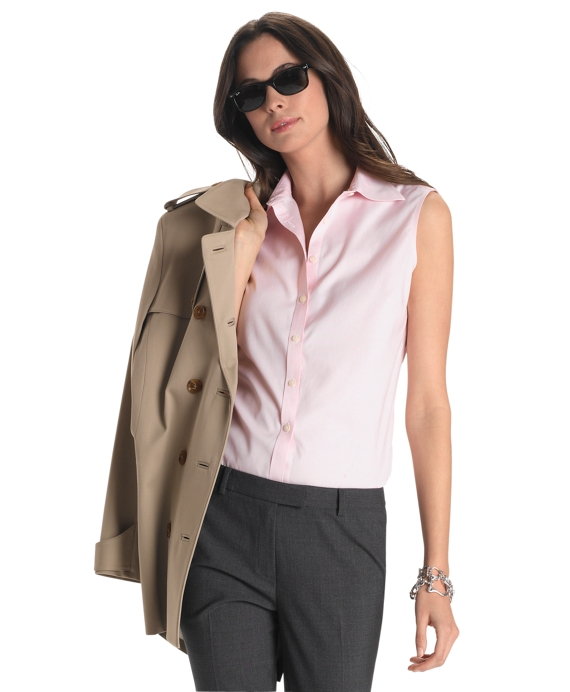 Petite Non-Iron Tailored Fit Sleeveless Dress Shirt Pink