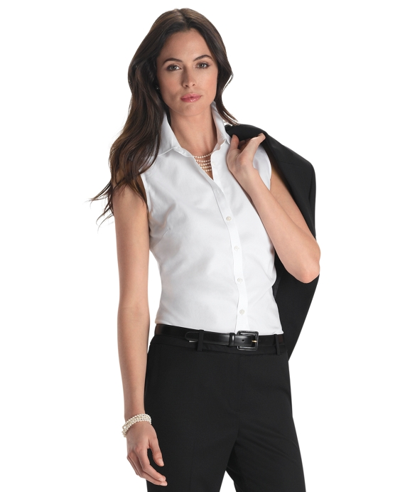 Petite Non-Iron Tailored Fit Sleeveless Dress Shirt White