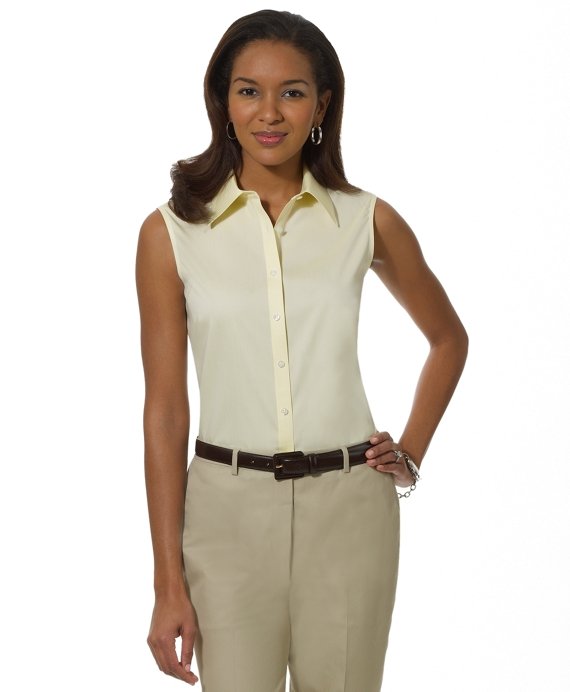 Petite Non-Iron Tailored Fit Sleeveless Dress Shirt Yellow