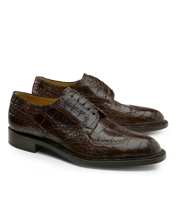 Genuine American Alligator Lace-Up Wingtips Brown