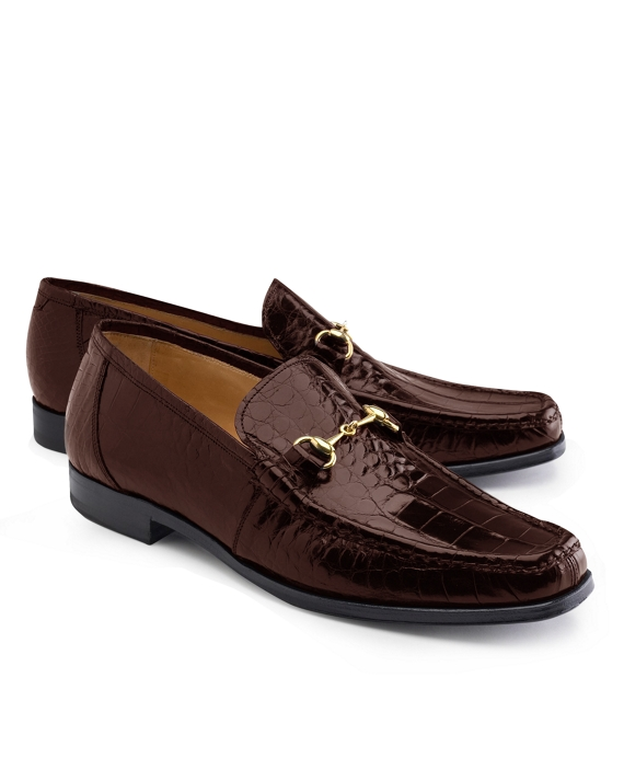 Genuine American Alligator Classic Bit Loafers Brown