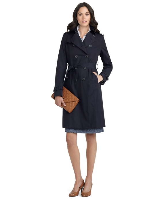 Cotton Trench Coat Dark Blue