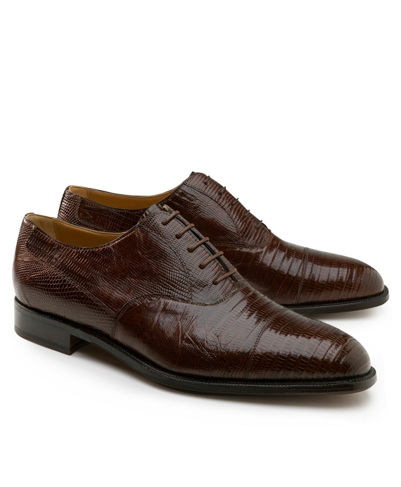 Lizard Captoe Lace-Ups Brown