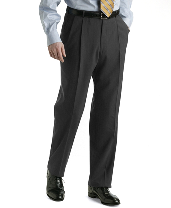 BrooksEase Pleat-Front Trousers Solid Grey