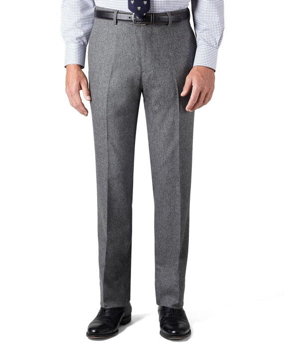 Milano Fit Plain-Front Black and White Donegal Tweed Trousers Black