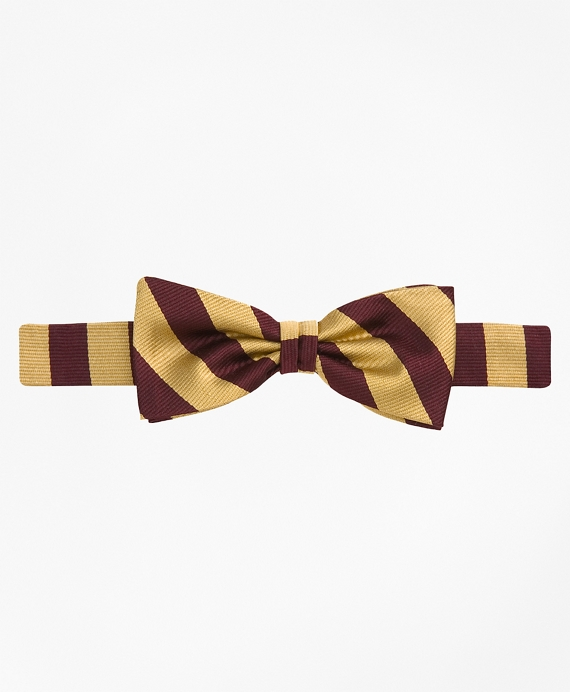 Guard Striped Bow Tie Burgundy-Gold