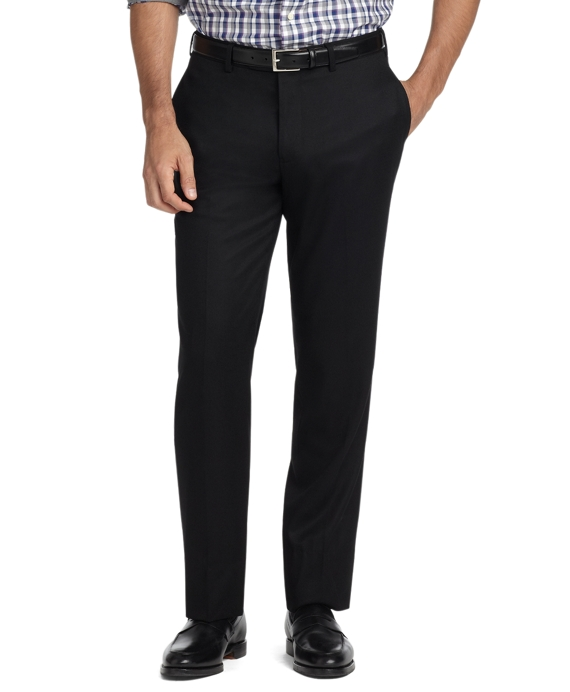 Milano Fit Plain-Front Flannel Trousers Black