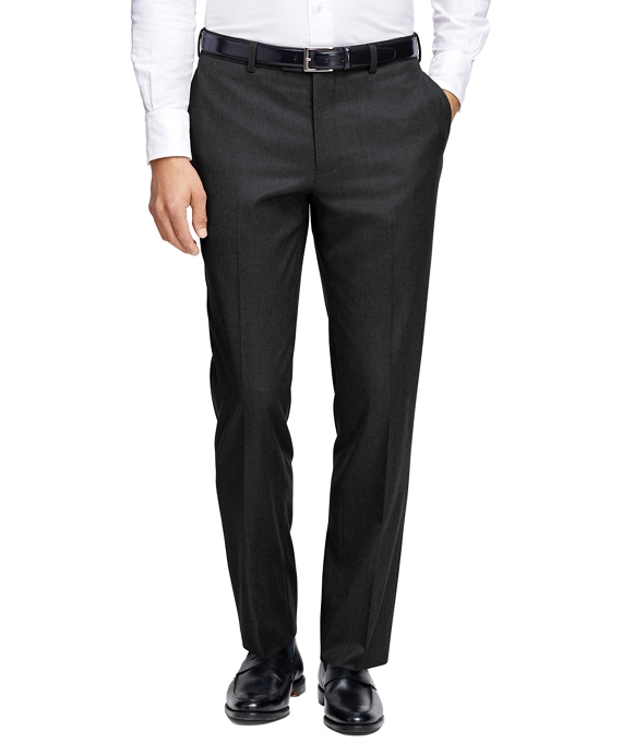 Milano Fit Plain-Front Flannel Trousers Charcoal