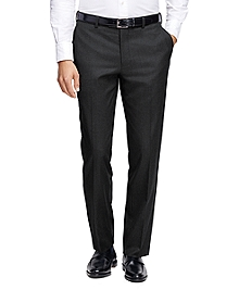 Milano Fit Plain-Front Flannel Trousers