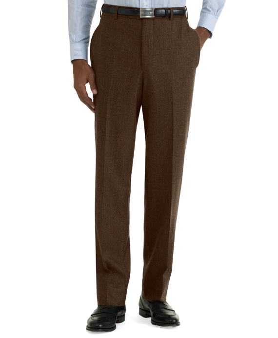 Milano Fit Plain-Front Flannel Trousers Coffee