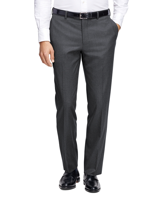 Milano Fit Plain-Front Flannel Trousers Med Grey
