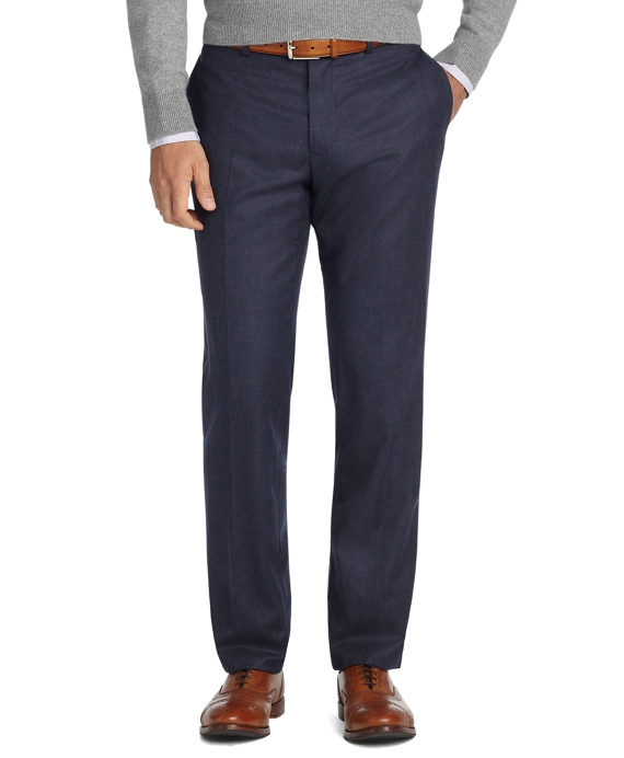 Milano Fit Plain-Front Flannel Trousers Navy