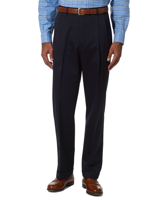 Country Club Better Cotton Pleat-Front Trousers Navy