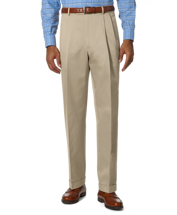 Country Club Better Cotton Pleat-Front Trousers Stone