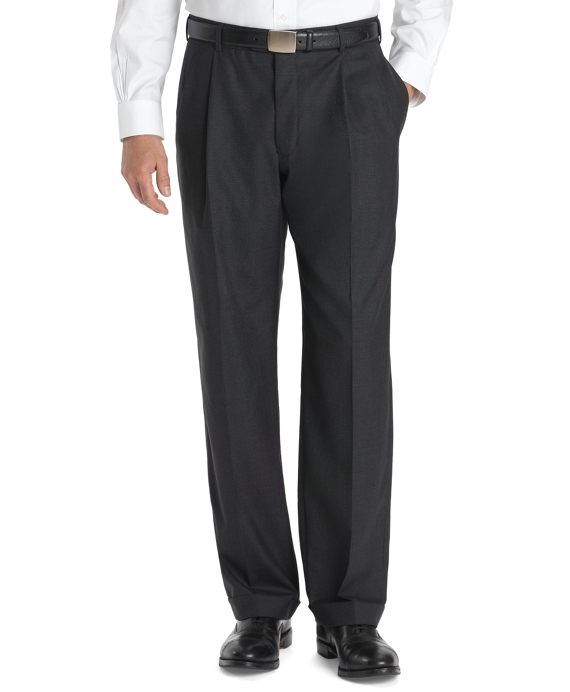 Country Club Saxxon Wool Madison Fit Pleat-Front Trousers Charcoal