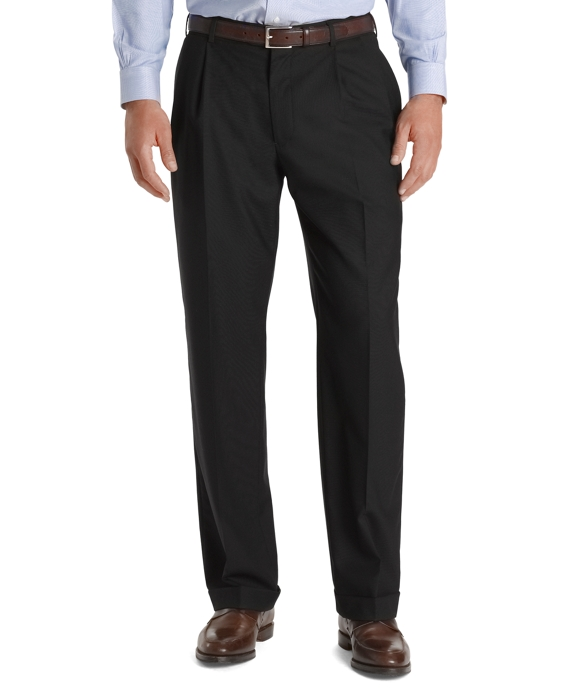 Country Club Saxxon Wool Madison Fit Pleat-Front Trousers Navy