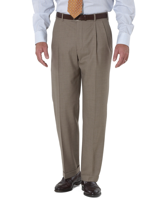 Country Club Saxxon Wool Madison Fit Pleat-Front Trousers Tan