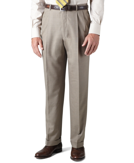 Country Club Saxxon Wool Madison Fit Pleat-Front Trousers Taupe