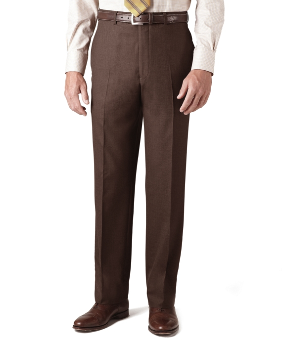 Country Club Saxxon Wool Madison Fit Plain-Front Trousers Brown