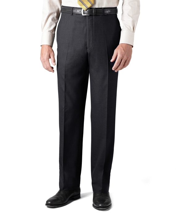 Country Club Saxxon Wool Madison Fit Plain-Front Trousers Charcoal