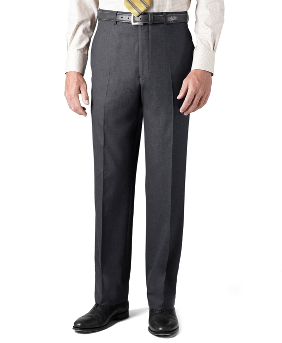 Country Club Saxxon Wool Madison Fit Plain-Front Trousers Grey