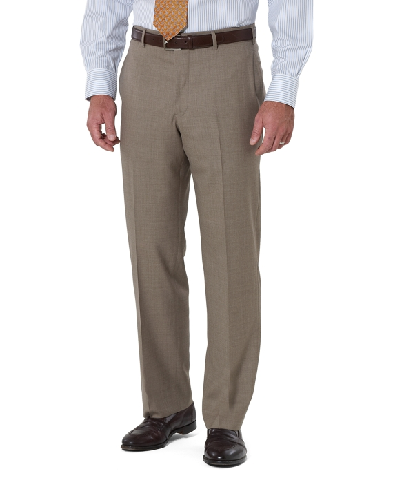 Country Club Saxxon Wool Madison Fit Plain-Front Trousers Tan