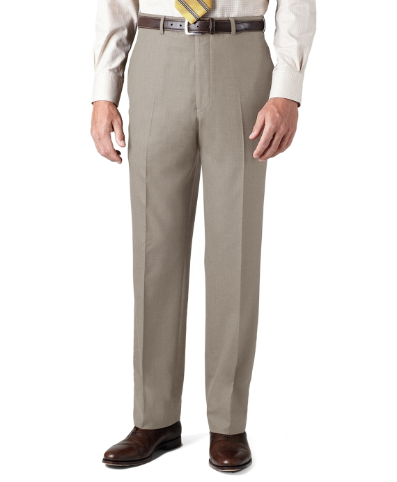 Country Club Saxxon Wool Madison Fit Plain-Front Trousers Taupe