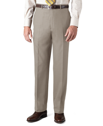 Country Club Saxxon Wool Madison Fit Plain-Front Trousers