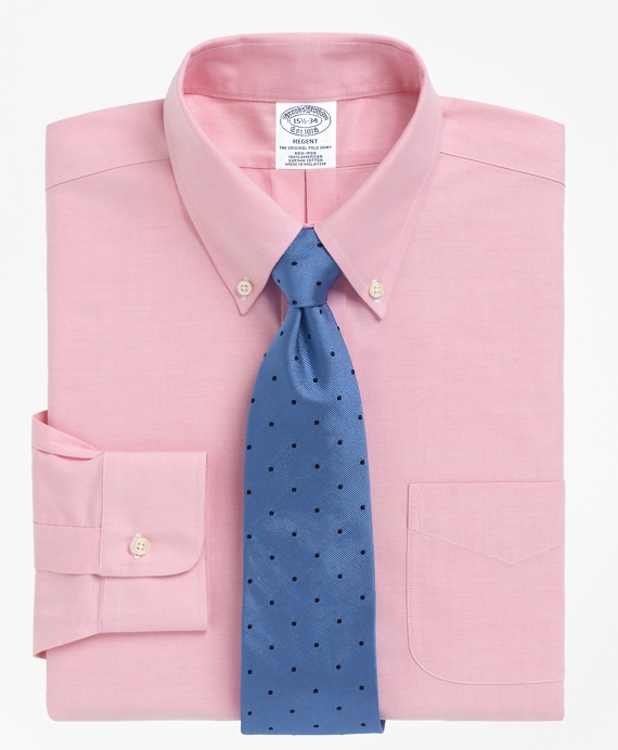 Non-Iron Slim Fit BrooksCool® Button-Down Collar Dress Shirt Pink