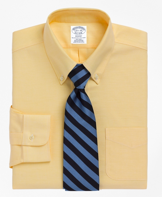 Non-Iron Slim Fit BrooksCool® Button-Down Collar Dress Shirt Yellow