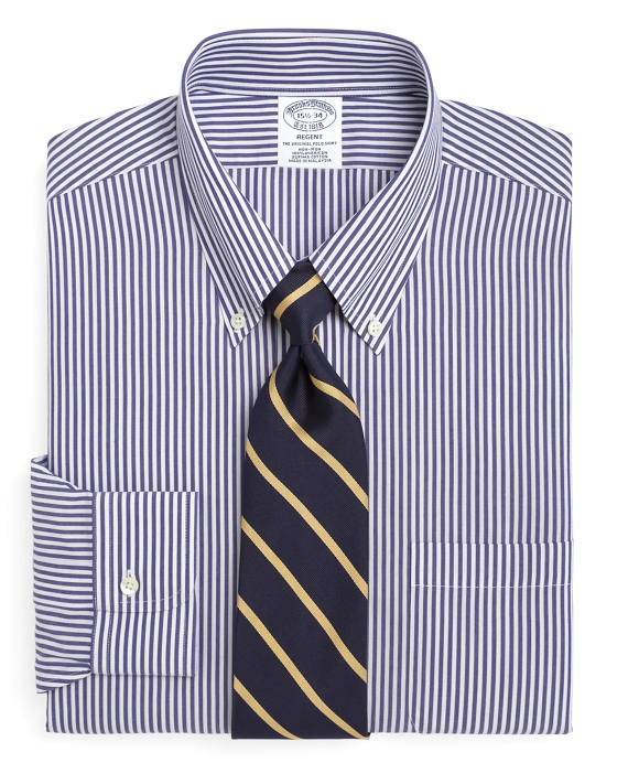 Non-Iron Regent Fit Bengal Stripe Dress Shirt Blue-White