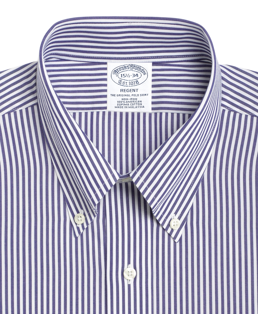 Men's Traditional Fit Blue Striped Dress Shirt | Brooks Brothers