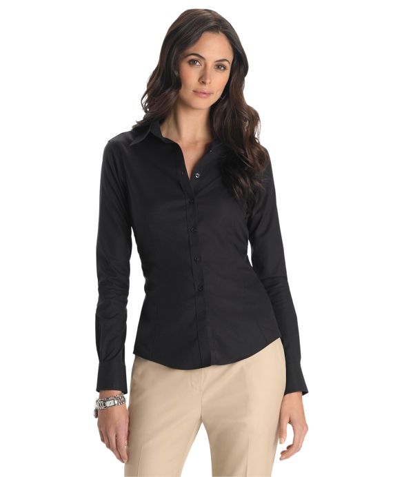 Petite Non-Iron Tailored-Fit Dress Shirt Black