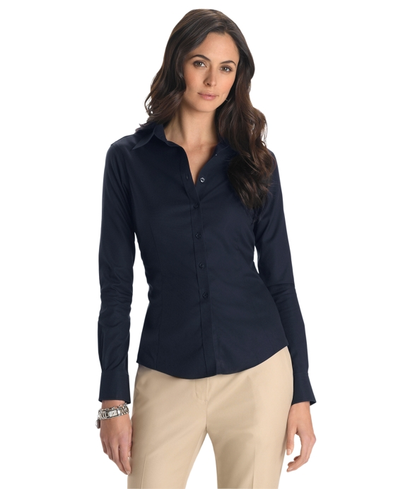 Petite Non-Iron Tailored Fit Dress Shirt Navy