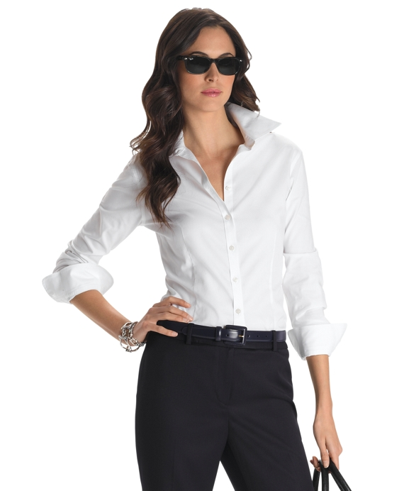 Petite Non-Iron Tailored Fit Dress Shirt White