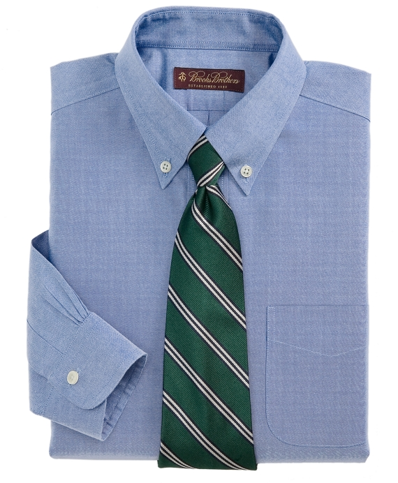 Non-Iron Pinpoint Button-Down Dress Shirt Blue