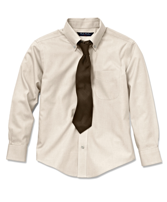 Non-Iron Pinpoint Button-Down Dress Shirt Ecru