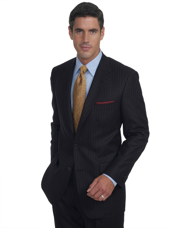 Madison Flannel Chalkstripe 1818 Suit Charcoal