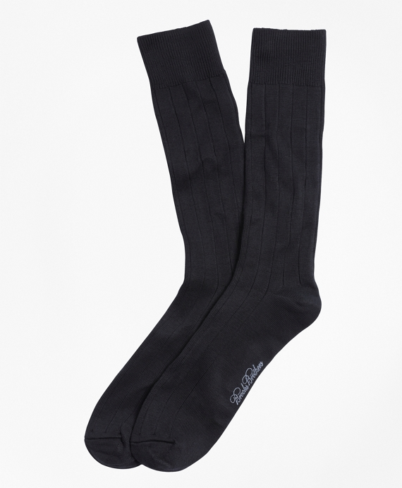 Ribbed Crew Socks Black
