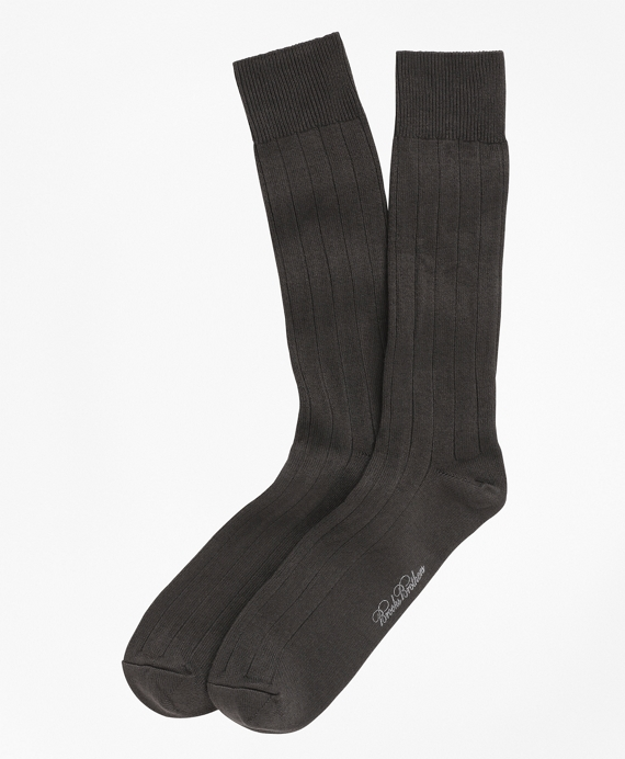 Ribbed Crew Socks Brown